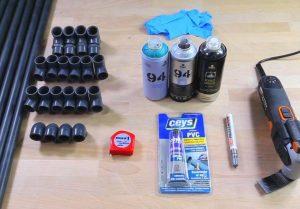 Materiales para un zapatero con tubo de PVC